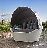 DEKO VERTRIEB BAYERN XXL Luxus Premium Rattan Sonneninsel Strandmuschel Strandkorb Gartenliege Lounge inkl. Spedition