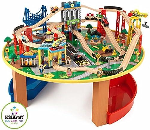 KidKraft 17985 City Explorer's Holzeisenbahn-Set & Spieltisch für Kinder mit Stauraum und über 80 Spielteilen