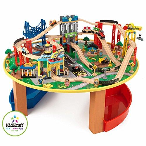 KidKraft 17985 Circuito de tren de juguete y tablero de madera para niños...