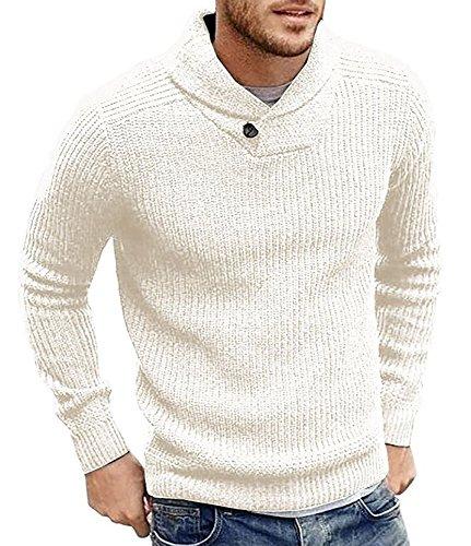 Runcati Mens Sweaters Shawl Collar Slim Fit Pullover Fall Winter Casual Knit Ribbed Coat White