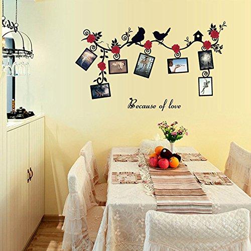 SPFOZ Haus Dekoration Baum-Vogel-Blumen-Rebe-Wand-Aufkleber DIY Removable Art Foto-Speicher-Rahmen PVC Tapeten Haus Aufkleber-Wandhauptdekor # CG1 (Color : Multi)