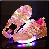 Patines Zapatillas de Patinaje de Rodillos iluminados Skate Sneaker Sola Rueda retráctil Sneaker LED LED para niños para niños Niños Junior Boys Girls Mujeres para Mujeres y Hombres
