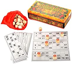 Russian Bingo Lotto Board Game Set Wooden Barrels & Cards Tambola Vintage Game for Family and Friends