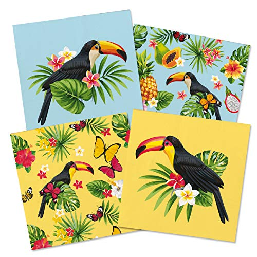 Home Collection Casa Cucina Tessili Set 40 Tovaglioli Monouso Carta 3 veli Motivo Tucano Ananas