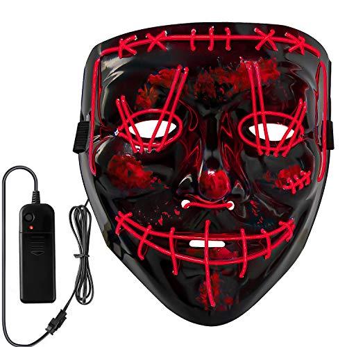 Neusky Halloween Mask, LED Light Up Mask, Purge Mask for Halloween Carnival Masquerade (2020 Black-Red)