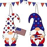 Jetec 2 Stücke Tag der Unabhängigkeit GNOME Türschild Patriotische Hängende GNOME Holz Brett Gnomdekoration der Amerikanischen Flagge mit Seil für 4. Juli Wohnzimmer Haustür Veranda Dekorationen