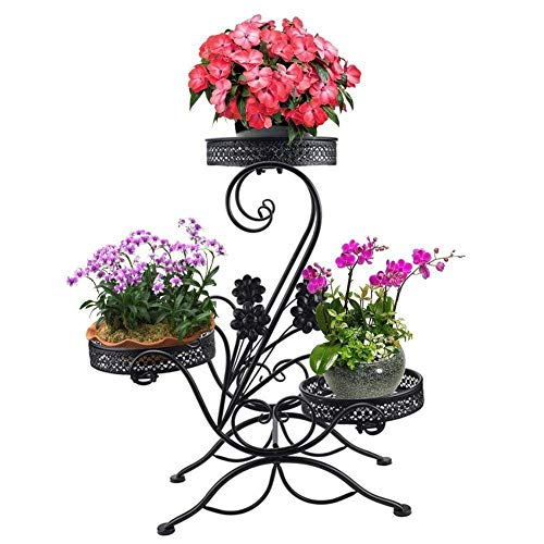 WENYAO 3-Tiered Scroll Plant Stand Indoor Outdoor Metal Plant Pot Stand Rack Classic Flower Display Shelf Holder with Modern S' Design (Black)