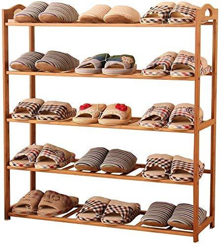 Zapatero de bambú para porche, zapatillas multifunción, estantes de almacenamiento, estantes, organizador de zapatos, ideal para pasillos, salas de estar, dormitorios, 80 x 26 x 90 cm, artículos para