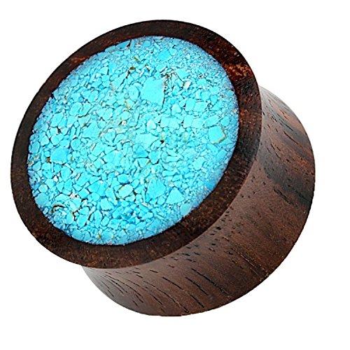 Piercingfaktor Ohr Plug Flesh Tunnel Piercing Ohrpiercing Organic Double Flared Holz Inlay Türkis 10mm