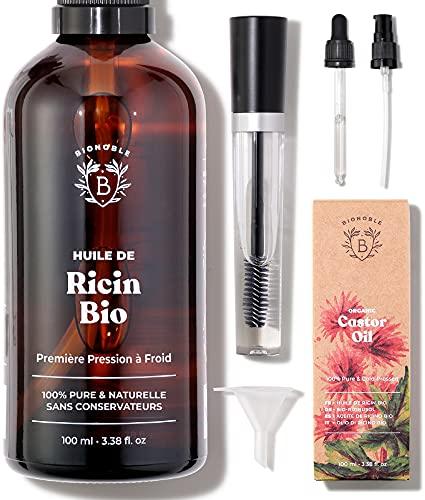 HUILE DE RICIN BIO | 100% Pure, Naturelle & Pressée à Froid | Cils, Sourcils, Corps, Cheveux, Barbe, Ongles | Vegan Castor Oil | Bouteille en Verre + Pipette + Pompe + Kit Mascara (100ml)