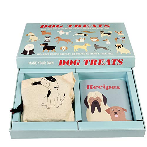 Rex London Hunde Leckerlis zum Selbermachen mit Rezeptbuch, 3 Ausstechformen und Baumwollbeutel (Ökobeutel) zum selbst backen