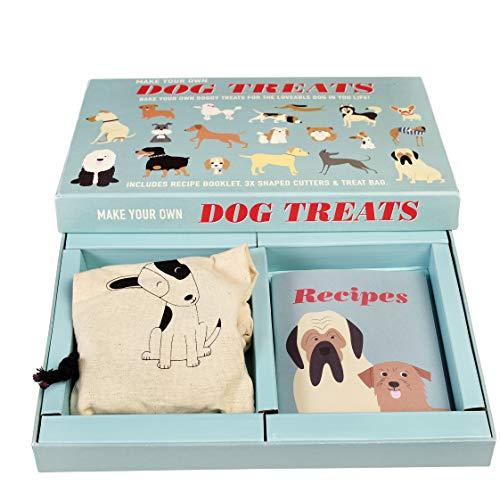 Rex London Perros golosinas para hacer uno mismo con libro de recetas, 3 moldes y bolsa de algodón (bolsa ecológica) para hornear uno mismo