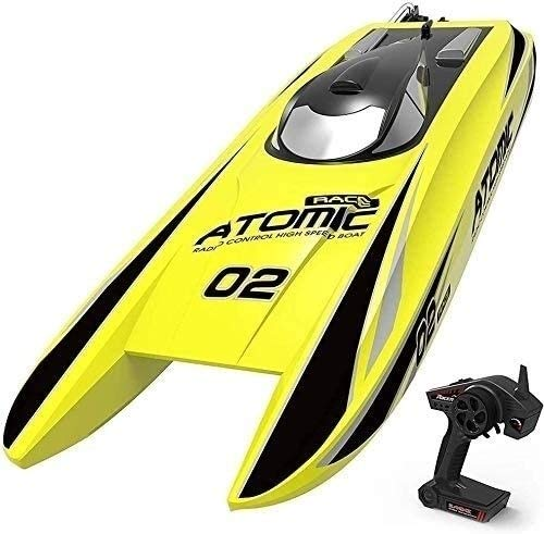 zeyujie 65KM/H Top Speed RC Boat Professional Brushless Motor 27.5-Inches Large Remote Control Speed Boat 11.1V 2600mAh Rechargeable Electric Rowing Toy for Adults & Kids Best Gift (Color : Yellow)