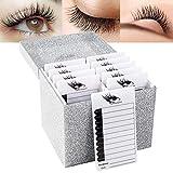 10 Layers Acrylic Eyelash Storage Box,Eyelash Holder Extension Tool,Makeup Organizer False Eyelashes Glue Pallet Holder, Grafting Eye lashes Close-Packed Display with 10 Pallets (silver)