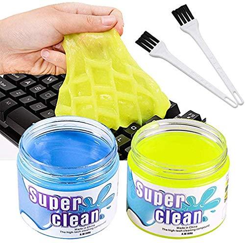 BESTZY Kit Limpiador de Teclado - 2 Gel de Limpiador y 2 Cepillo Teclado, Súper Limpia el Polvo y las Bacterias en Ordenador Tableta Cámara Calculadora Interior del Coche, 160 g * 2