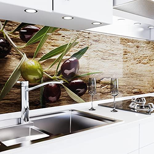 danario Küchenrückwand selbstklebend - Spritzschutz Küche in Glasoptik - PET Verbund Folie, 2D Fugenplus - Oliven - Materialmuster A5