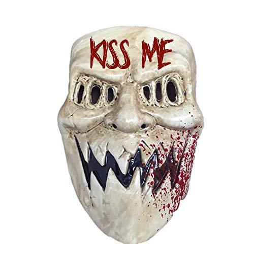 B-Creative The Purge Masculino Femenino Mscara Sonrisa Pelcula de Halloween Pelcula Terror Fantasa Bsame Dios Sonriendo Deluxe Reino Unido