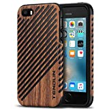 TENDLIN Compatible with iPhone SE Case (2016) / iPhone 5S Case Wood Veneer Flexible TPU Silicone Hybrid Good Protection Case Designed for iPhone 5/5S/SE (Wood & Leather)