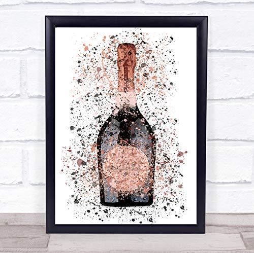 Dark Rose Champagne Flesje Muur Art Ingelijste Print Medium A4