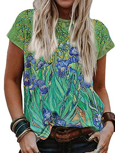 Vincent Van Gogh Starry Night Print Shirt for Women (Green, 2XL)