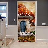 Pegatinas de puerta KEXIU, papel tapiz autoadhesivo de bricolaje impermeable extraíble, adecuado para dormitorio, sala de estar, cocina, baño, etc. ( Casa de setas ) 77 x 200 cm