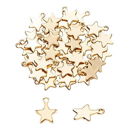 UNICRAFTALE 50 pz Ciondoli A Forma di Stella d'oro 304 Charms in Acciaio Inossidabile 1.2mm Ciondolo A Foro Piccolo Materiale Metallico Fascino per La Collana del Creazione di Gioielli 10x8x1mm