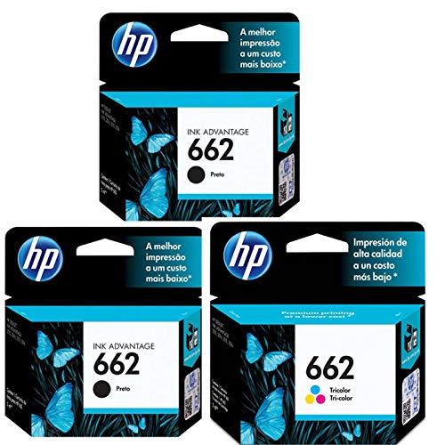 Kit 2 Cartuchos 662 HP + 1 Cartucho HP 662 Color