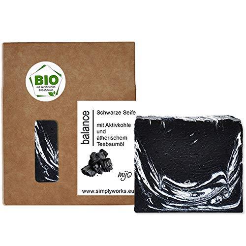 Mijo BALANCE Schwarze Seife Naturseife mit Bio Bambus Aktivkohle, Bio Olivenöl gegen Pickel, Akne, unreine Haut ca. 100g
