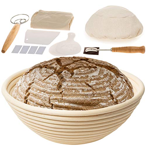 9 inch Bread Proofing Basket Set - Bread Baking Kit with Stainless Steel Bread Lame, Danish Dough Whisk, Organic Cotton Bag – Sourdough Bread Accessories for Artisanal Bread