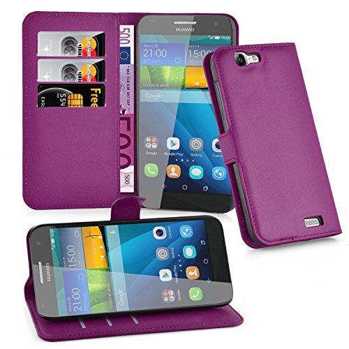 Cadorabo Hülle für Huawei G7 in Mangan VIOLETT - Handyhülle mit Magnetverschluss, Standfunktion & Kartenfach - Hülle Cover Schutzhülle Etui Tasche Book Klapp Style