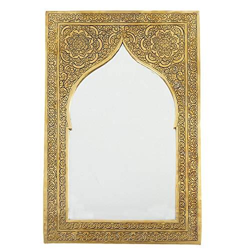 Casa Moro - Espejo de Pared marroquí Oriental de latón Safaa 37 x 25 cm, Rectangular, artesanía, Marrakesch, Espejo Oriental para Hermosa decoración y Idea de Regalo