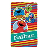 Sesame Street Friends Striped Personalized Fuzzy Blanket with Custom Name Printed for Bedroom or Play Area, 33.5' x 55.5'