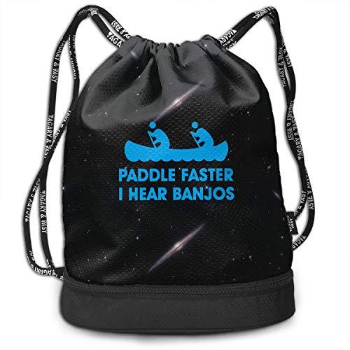 wwoman Paddle Faster I Hear Banjos Sac à Cordon pour Hommes et Femmes, Sacs à Main d'origine 100% Polyester
