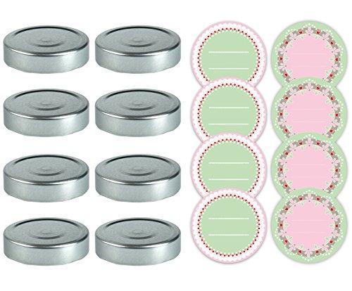 Dr. Oetker Deckel Twist-Off+Aufkleber, Weißblech, Silber/grün/rot/weiß/rosa, 8,5 x 8,5 x 1 cm, 8-Einheiten