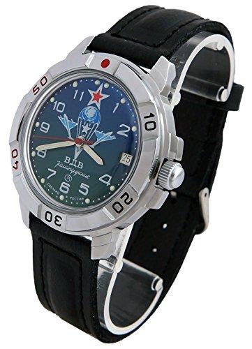 Wostok komandirskie 431818/2414eine Militärische Spezialeinheiten Russische Uhr Grün VDV Fallschirmjäger