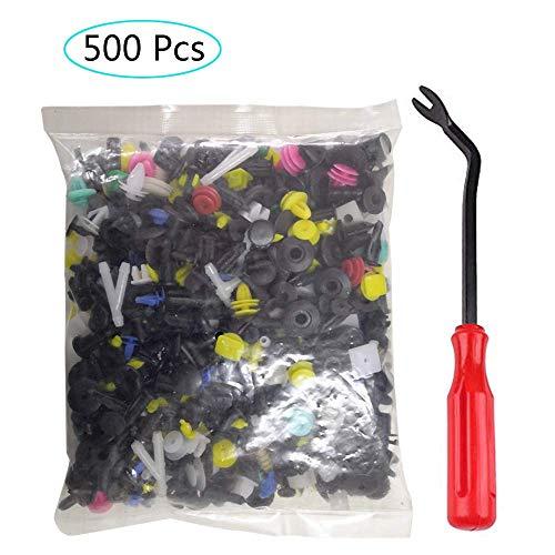 500 Piezas Clips Remaches Plástico,  Clips Remaches de Plástico Cierre,  aleatoria mezclando los clips del coche universal Fender parachoques plástico Menaje Auto plástico Fastener