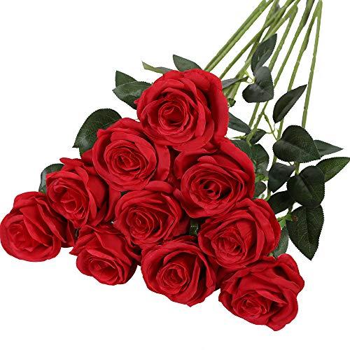 Nubry Flor de Rosa de Seda Artificial de un Solo Tallo de Rosa Falsa para el Ramo de Bodas Arreglos Florales Decoración del Centro de Mesa para Fiestas en casa, 10pcs (Rojo)