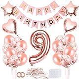Cumpleaños Globos 9, Decoración de cumpleaños 9 en Oro Rosa, Feliz cumpleaños Decoración Globos 9 Años, 9 Globos de Confeti y Globos de Aluminio para niñas y Mujeres