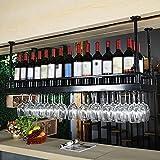 LXYPLM-WR1 Ceiling Wine Racks Upside Down Wine Glass Holder Rustic Display Wine Storage Holder Metal Decoration Shelf For Bars,Restaurants,Kitchens,2 Colors,Length 120cm(Color:Black)