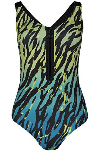 GINA LAURA Damen Badeanzug, Animalmuster, Farbverlauf, Ausschnitt-Zipper schwarz M 725573 10-M