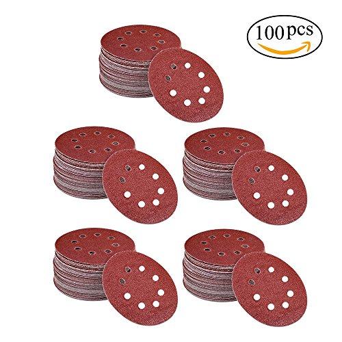 100PCS Orbital Sanding Discs, niceEshop(TM)5 Inch 8 Hole Dustless Hook-and-Loop Sander Paper for Power Random Orbit Sanders