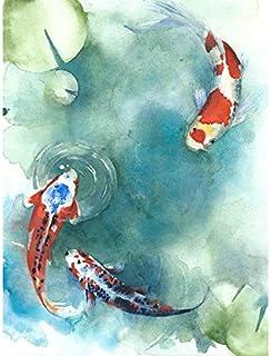 Wee Blue Coo Japanese Koi Fish with Lilies Art Print Canvas Premium Wall Decor Poster Japonais Poisson Mur Déco Affiche