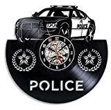 Bawangbieji Wanduhr Schallplatten Vinyl Polizisten 12'Vinyl CD Quarzuhr Vintage Schallplatte DIY Uhr Wand-Deko Kunst Familien Dekoration