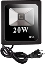 TEATRO UV LED 泛光灯,20W 户外超紫罗兰黑色光 85V-265V AC,黑色泛光灯带美国插头,IP66 防水,UVA 水平,适用于黑色光派,深发光材料,荧光漆。
