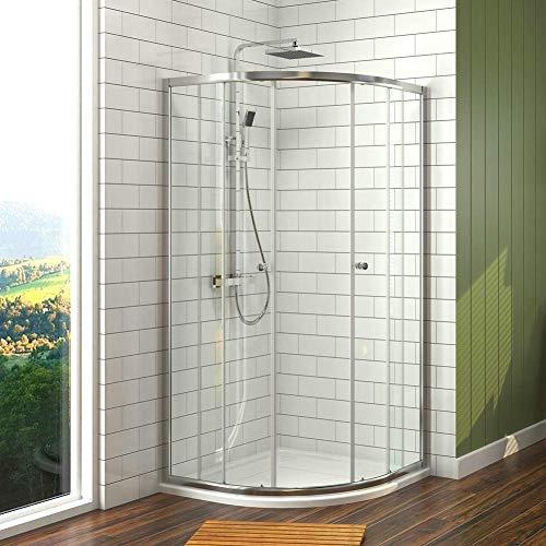 Duschkabine 90x90cm Eckeinstieg Runde Dusche mit Schiebetür, Duschabtrennung Duschtür Duschwand Glas Eckdusche 6mm ESG Sicherheitsglas, Höhe 185cm Radius 55cm