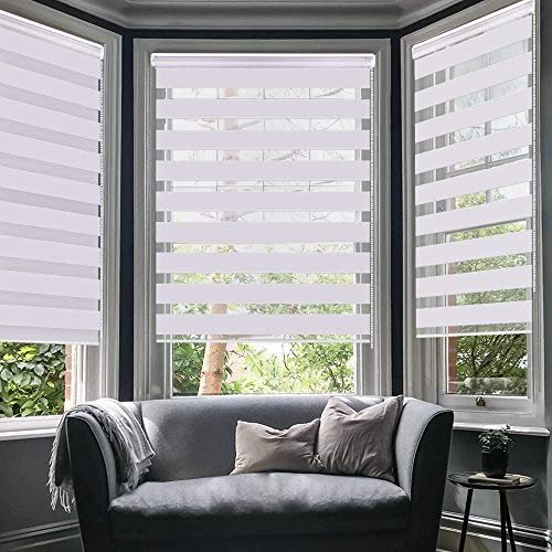 SMONTER Easy Fix Zebra Roller Blind,Day and Night Blinds Curtains with Install Accessories (105CMx150CM-2PACK, WHITE)