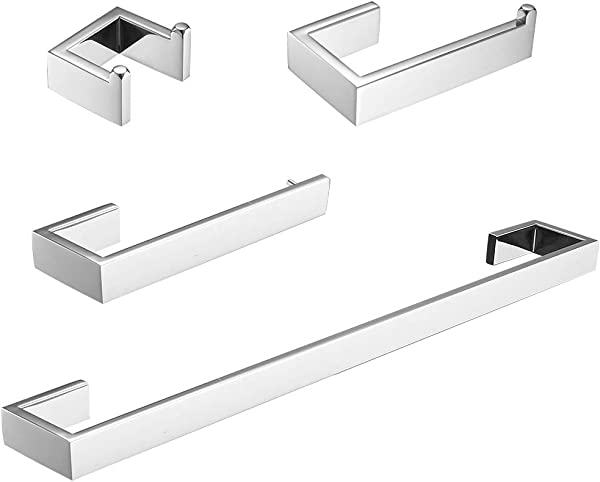 Fapully 4 Piece Bathroom Accessories Set Stainless Steel Wall Mounted Chrome Polish Finished