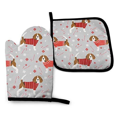 Guantes de Cocina y Juego de Mantel Individual Perro Beagle Candy Copos De Nievecon Silicona Antideslizantes para Cocinar, Asar(Juego de 2 piezas)