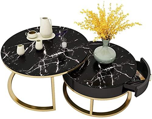 LCNING Mesa de café de mármol Redondo - Mesa de té de Arte Negro Conjunto de 2- Mesa de anidación de sofá de Sala de Estar, Nordic Modern, 80 + 60 cm