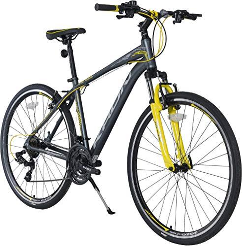 KRON TX-100 Aluminium Mountainbike 28 Zoll | 21 Gang Shimano Kettenschaltung mit V-Bremse | 20 Zoll Rahmen MTB Erwachsenen- und Jugendfahrrad | Schwarz Gelb